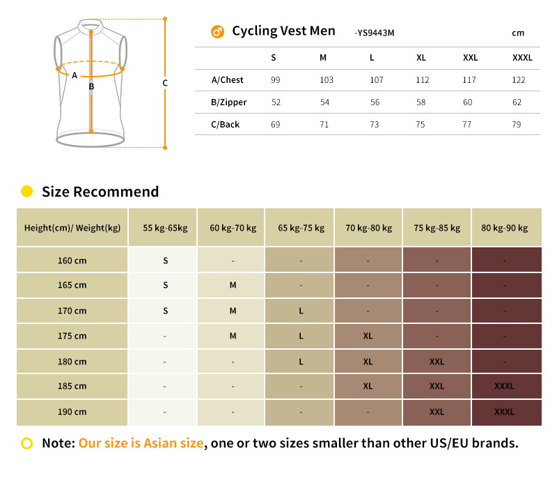 cycling vest size chart