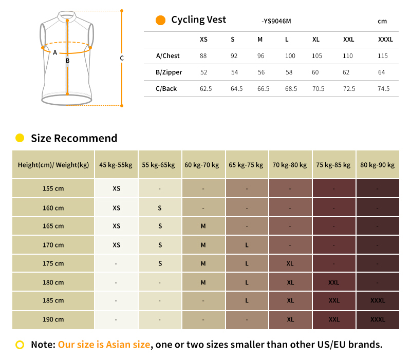 cycling wind vest YS9046M size chart