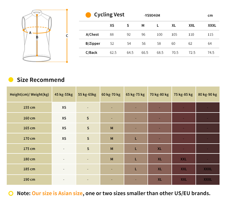 cycling vest YS9046M size chart
