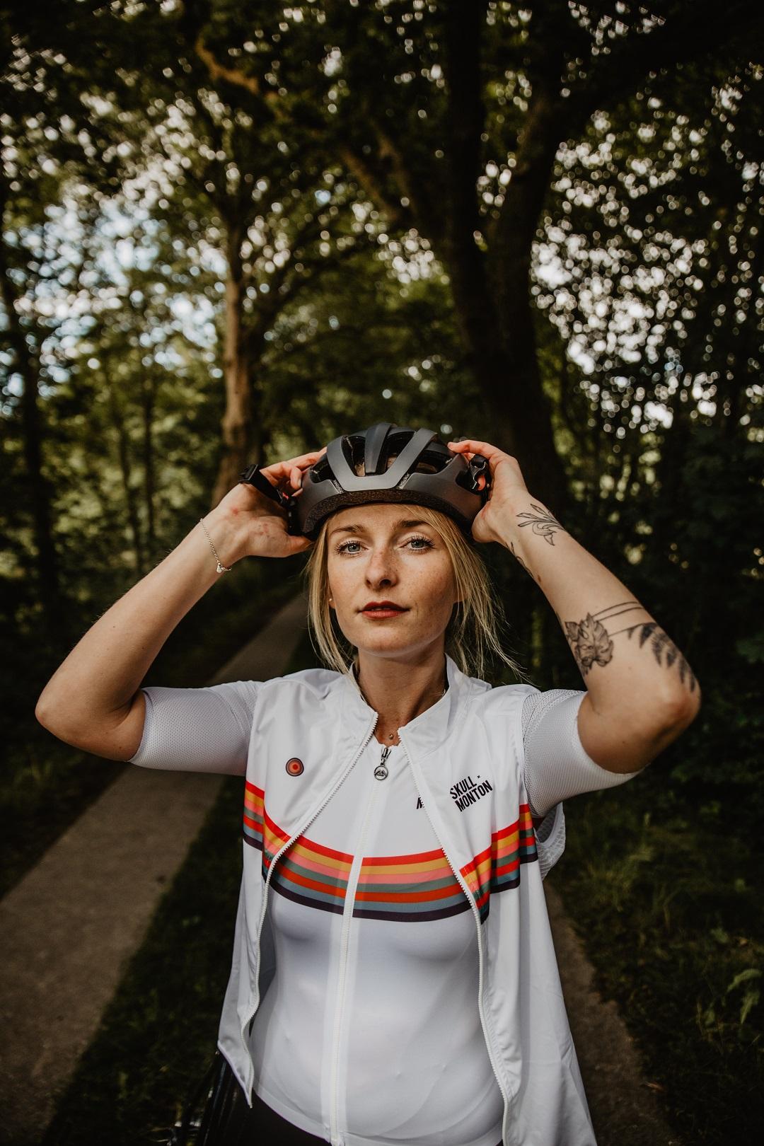 white cycling gilet
