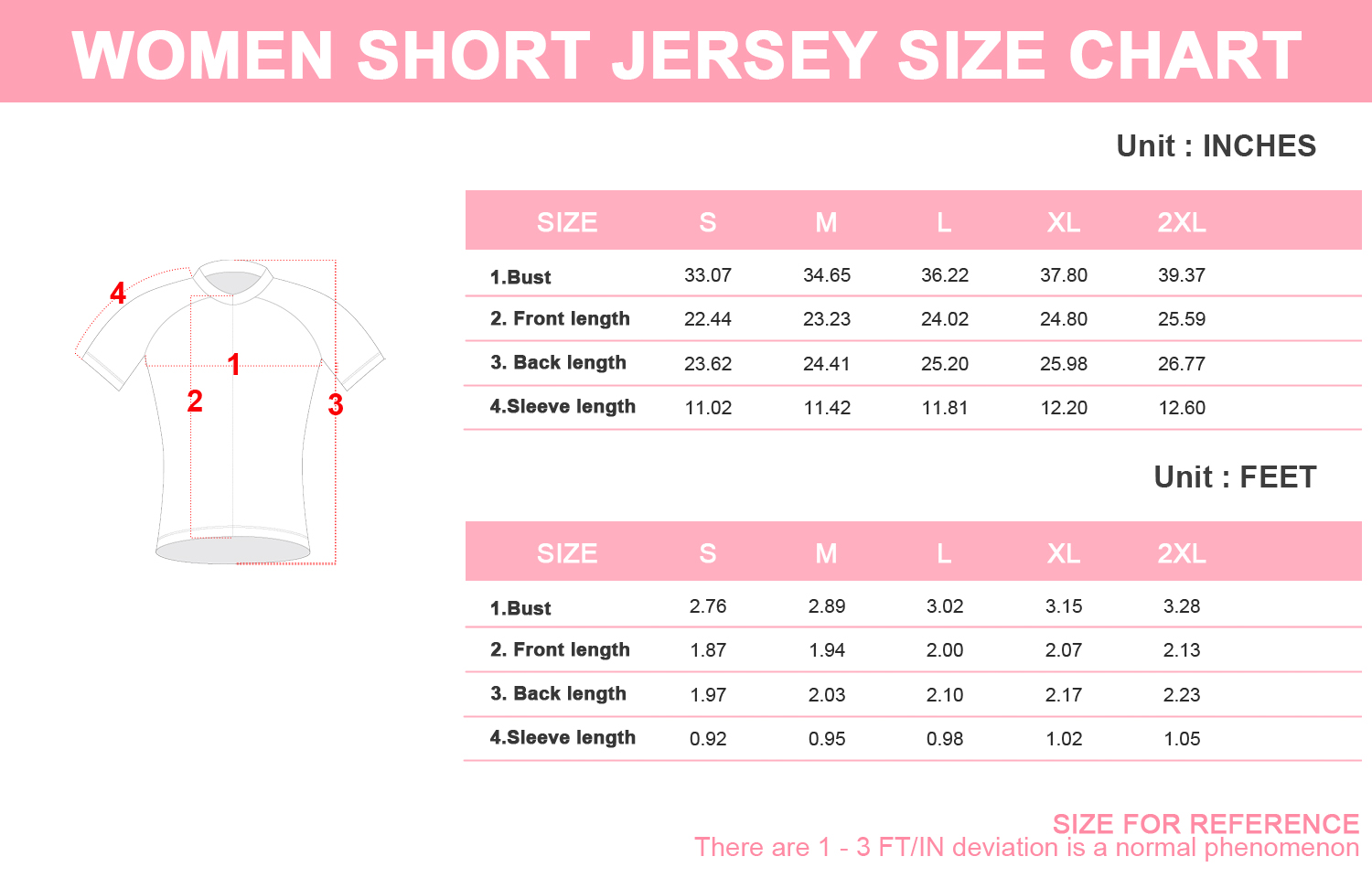 Craft Jersey Size Guide