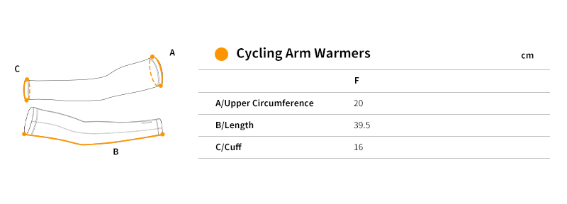 cycling arm sleeves size chart
