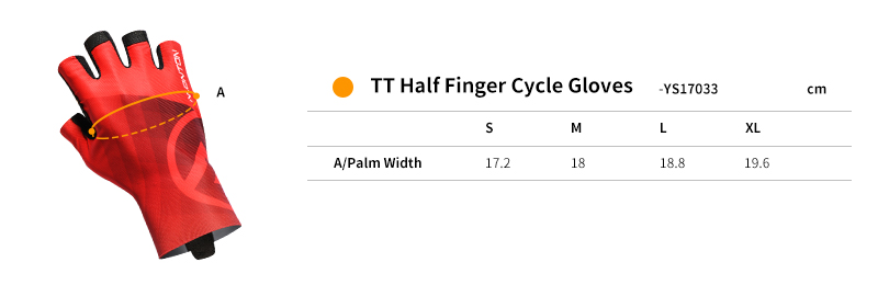 2018 half finger cycling gloves size chart