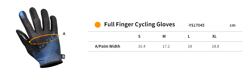 2018 full finger cycling gloves size chart