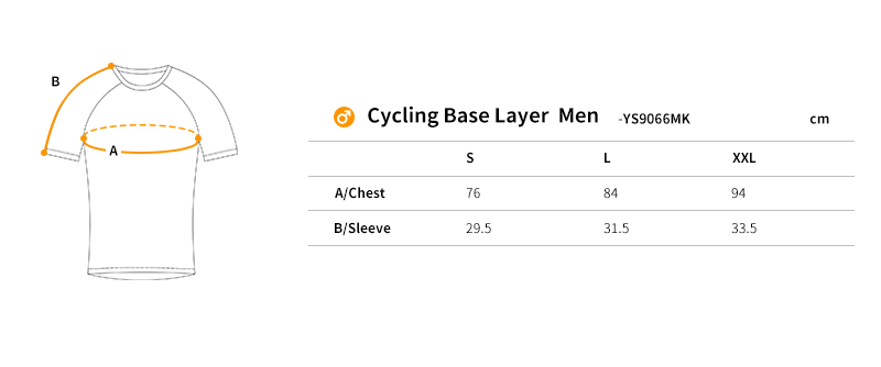 2018 cycling base layer size chart