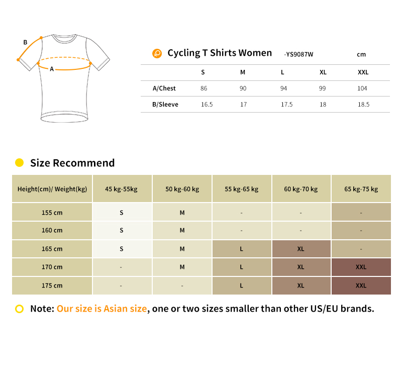 2018 dry fit t shirt size chart