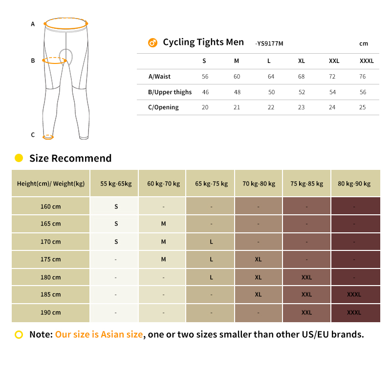 2018 cycling tights size chart