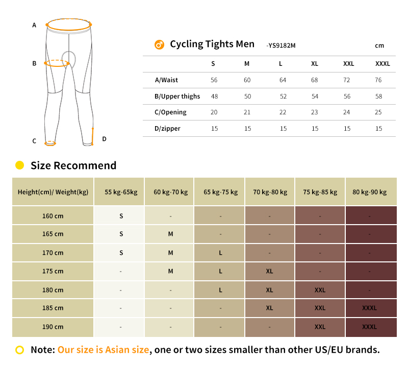 2018 winter cycling tights size chart
