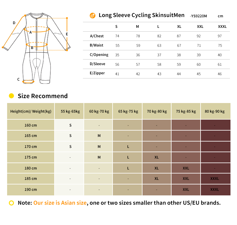 2018 bicycle skinsuits size chart