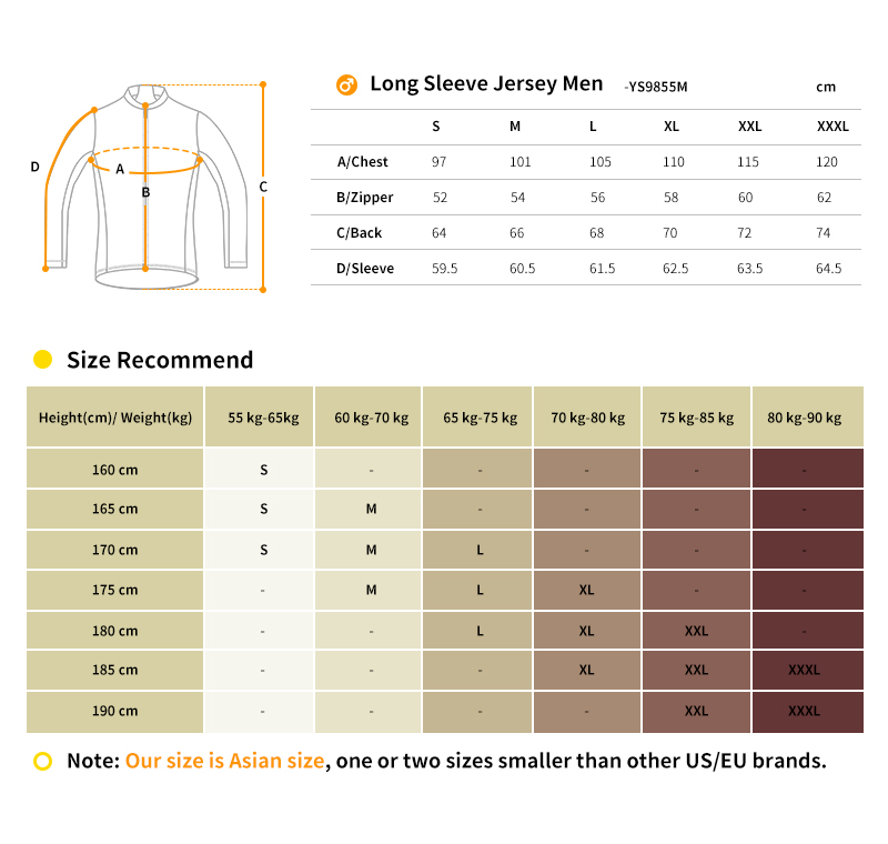 2018 long sleeve cycling jersey size chart