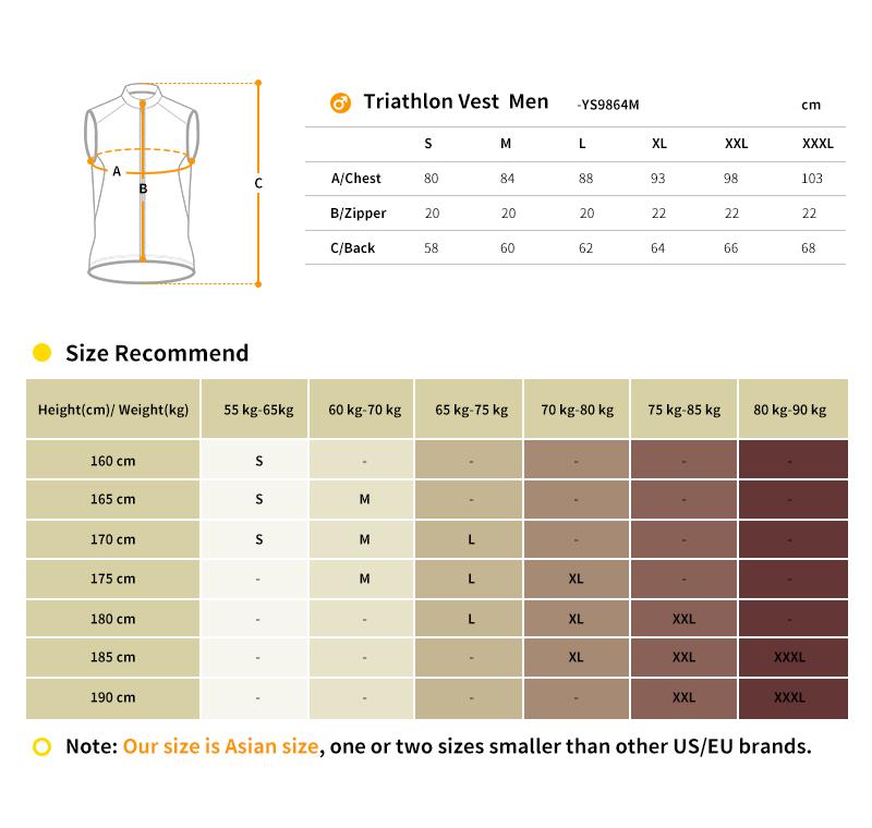 2018 triathlon vest size chart