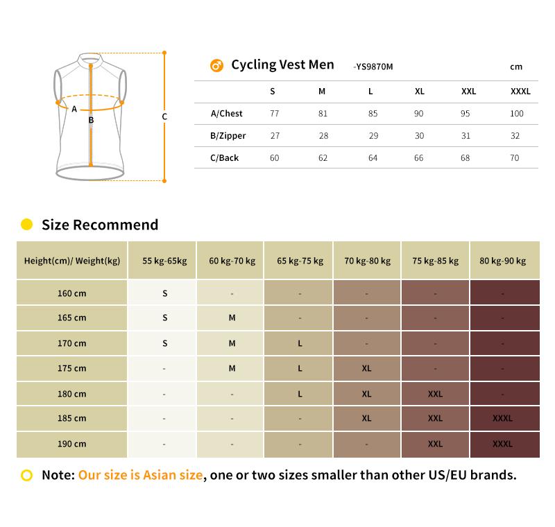 2018 cycling vest size chart