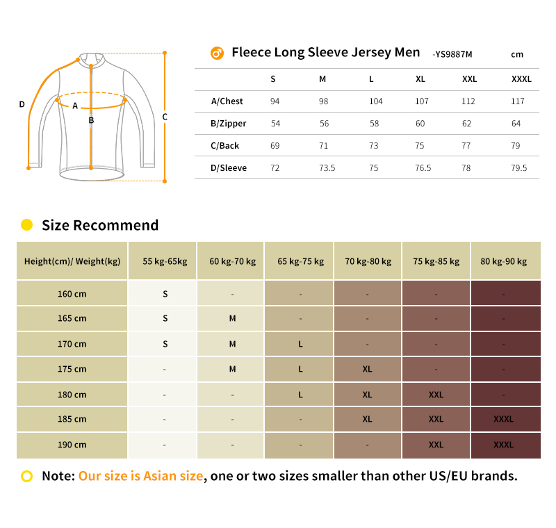 2018 winter cycling jersey size chart