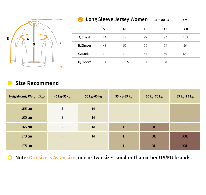2018 winter cycling jersey size chart