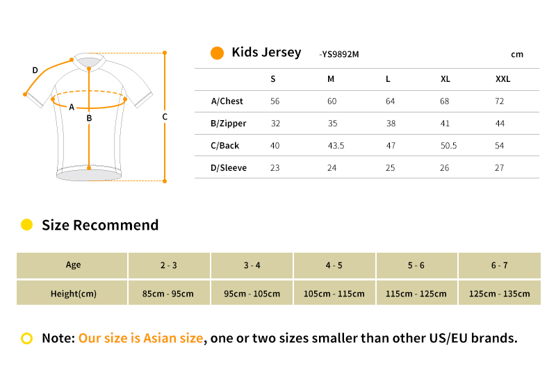 2018 kids cycling jersey size chart