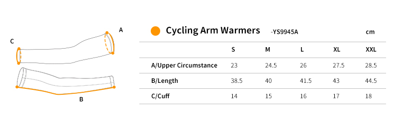 2018 cycling arm sleeves size chart