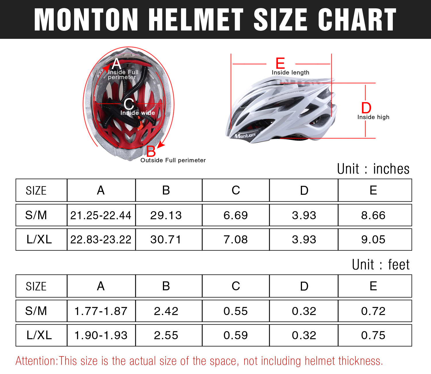 monton cycling helmet size chart